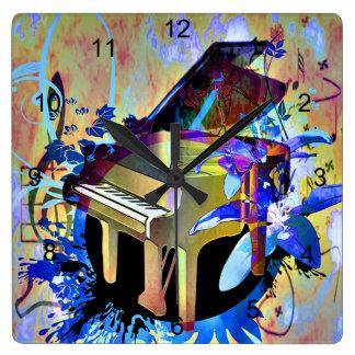 Funky Piano Square Wall Clock