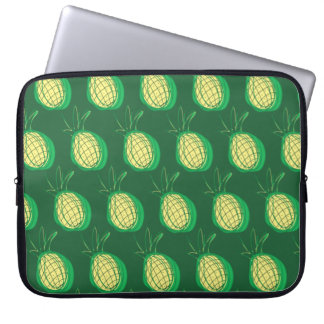 Funky pineapples on green background laptop sleeve