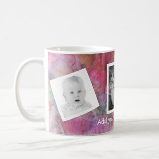 Funky Pink Abstract Painting with Tilted Photos Coffee Mug