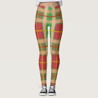 Funky pink and green plaid leggings