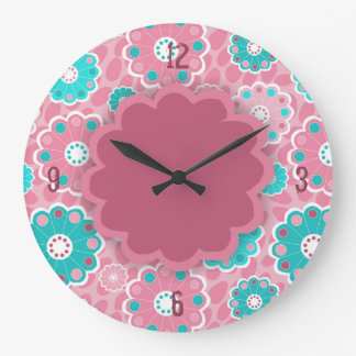 Funky pink aqua floral abstract clock