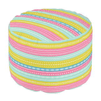 Funky pink aqua striped sewing stitch pattern pouf