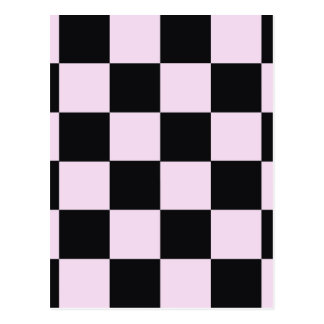 Funky Pink Black Blocks Postcard
