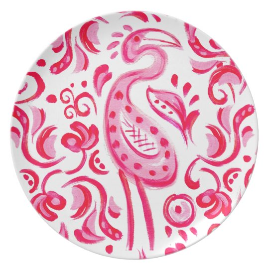 Funky Pink Flamigo Paisley Pattern Plate