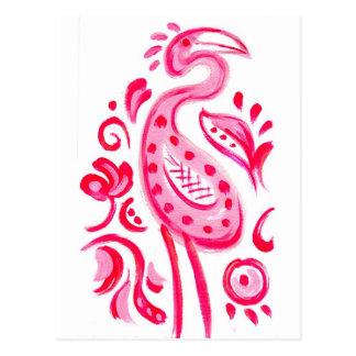 Funky Pink Flamigo Paisley Pattern Postcard