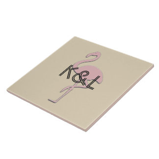 Funky Pink Flamingo Add Initials Tile