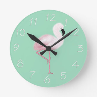 Funky Pink Flamingo Blue Wall Clock