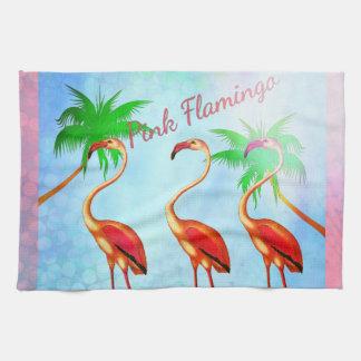 Funky Pink Flamingos Palm Trees Blue Sky Towel