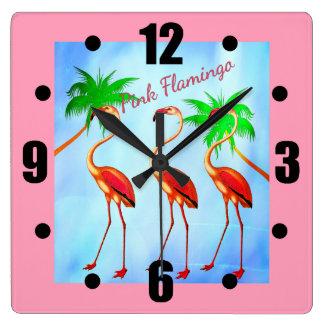 Funky Pink Flamingos Palm Trees Blue Sky Wallclock