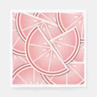 Funky pink grapefruit wedges paper napkin