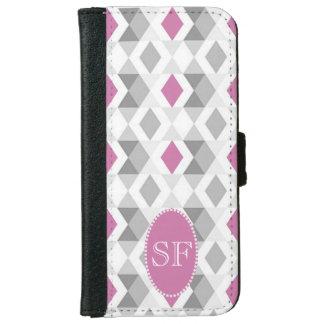 Funky Pink Gray Diamond Monogram iPhone 6 Wallet Case