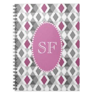 Funky Pink/Gray Diamond Monogram Spiral Notebook