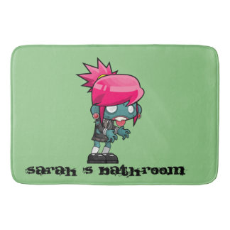 Funky Pink haired Zombie Girl Ghoul Bath Mat