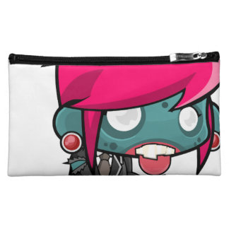 Funky Pink haired Zombie Girl Ghoul Cosmetic Bag