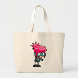 Funky Pink haired Zombie Girl Ghoul Large Tote Bag