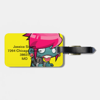 Funky Pink haired Zombie Girl Ghoul Luggage Tag