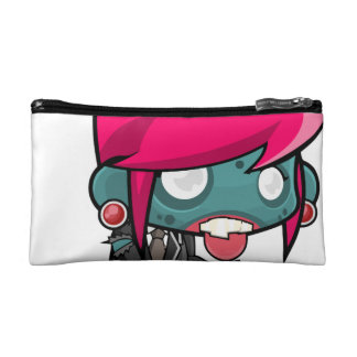 Funky Pink haired Zombie Girl Ghoul Makeup Bag