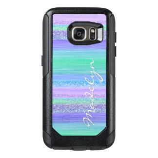 Funky Pink Mint Green Blue Purple Stripes Pattern OtterBox Samsung Galaxy S7 Case