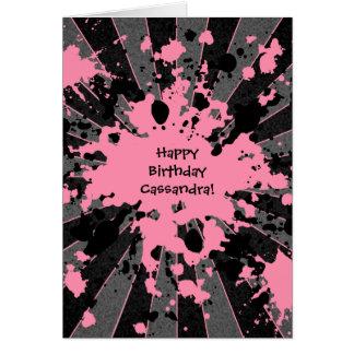 Funky pink paint splatter paintball Happy Birthday Card