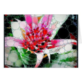 Funky Pink Silver Vase Bromeliad Greeting Card