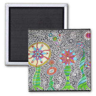Funky Plants Watercolor Mosaic Square Magnet