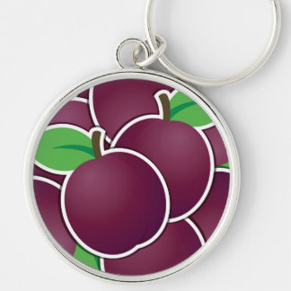 Funky plum Silver-Colored round keychain