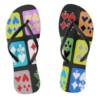 Funky Poker Player Stylized Cards Flip Flops