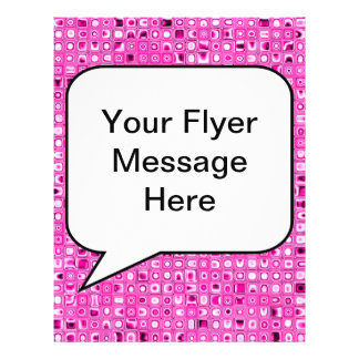 Funky Pretty In Pink Mosaic Tiles Pattern Full Color Flyer