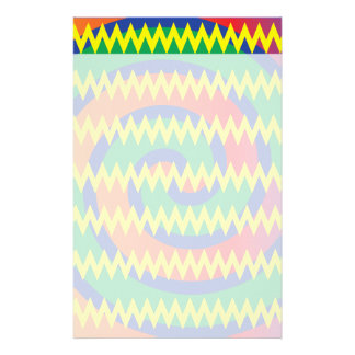Funky Primary Colors Swirls Chevron ZigZags Design Stationery