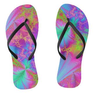 Funky Psychedelic Rainbow Colors Flip Flops