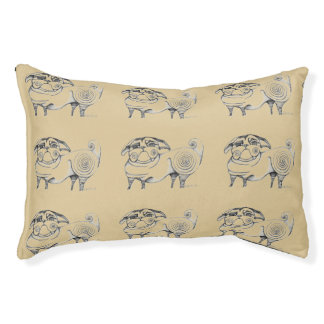 Funky Pug Sketch Dog Bed Small Dog Bed