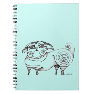 Funky Pug Sketch Notebook - Aqua