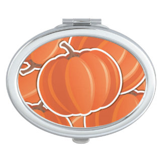 Funky pumpkin compact mirrors