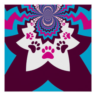 Funky Puppy Dog Paw Prints Purple Teal ZigZags Posters