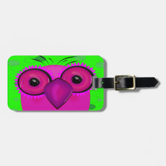 Funky Purple Cartoon Owl on Lime Green Background Luggage Tag