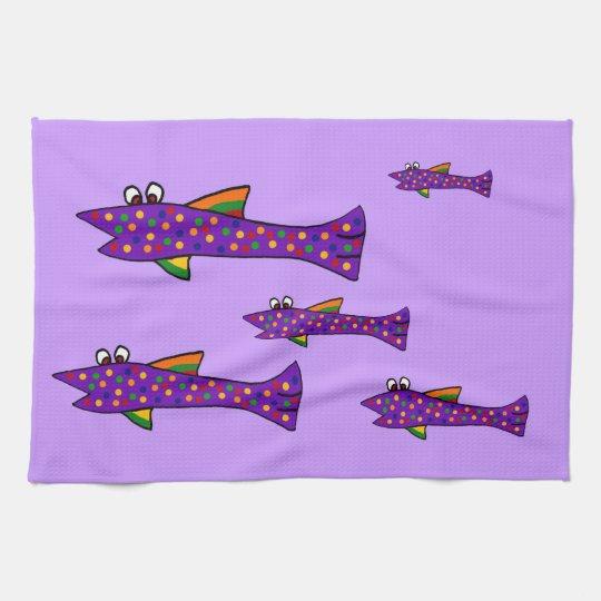 Funky Purple Fish Cartoon Hand Towels