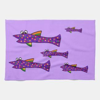 Funky Purple Fish Cartoon Kitchen Towel