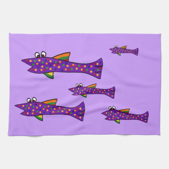 Funky Purple Fish Cartoon Kitchen Towel
