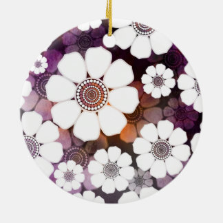 Funky Purple Flower Power Ceramic Ornament