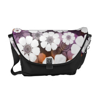 Funky Purple Flower Power Courier Bag