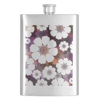 Funky Purple Flower Power Hip Flask