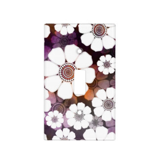 Funky Purple Flower Power Light Switch Cover