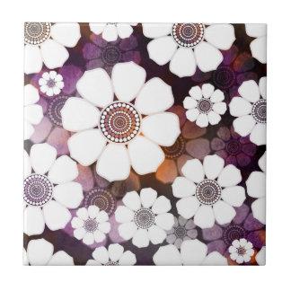 Funky Purple Flower Power Tile