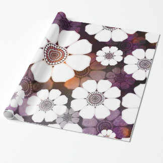 Funky Purple Flower Power Wrapping Paper