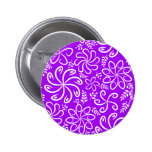 Funky purple flowers and leaves Button