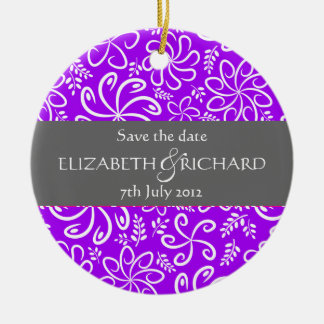 Funky purple flowers and leaves Ornament