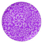 Funky purple flowers and leaves Plate