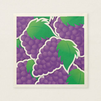 Funky purple grapes disposable napkins