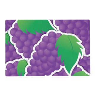 Funky purple grapes laminated placemat
