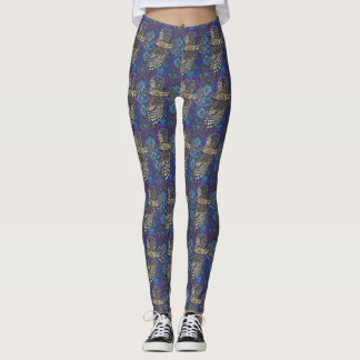 Funky Purple Hawk Pattern Leggings